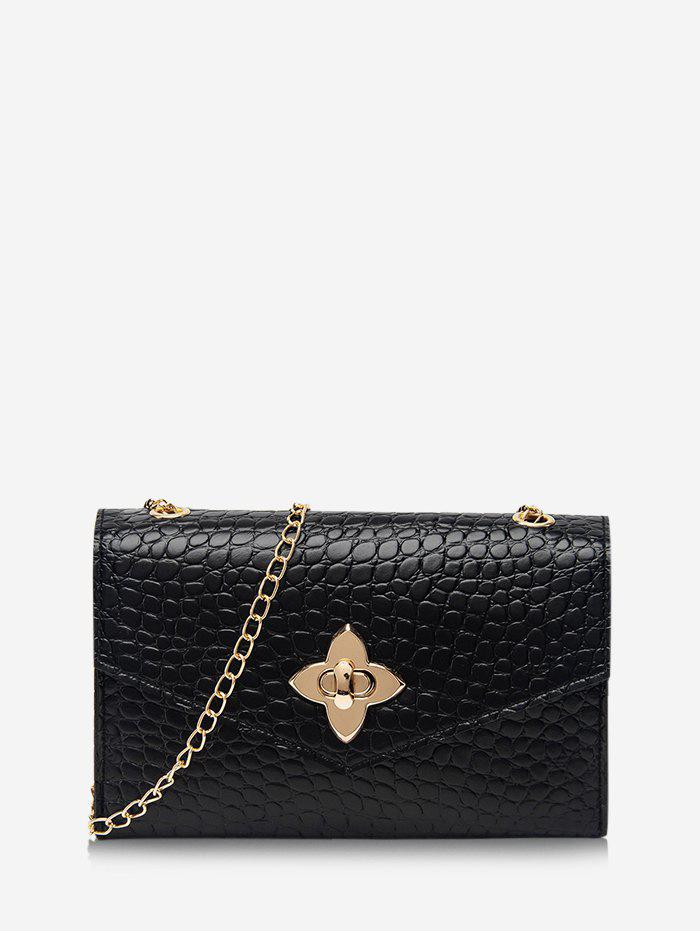 Chain Four-Leaf Clover Buckle Crossbody Bag - BLACK