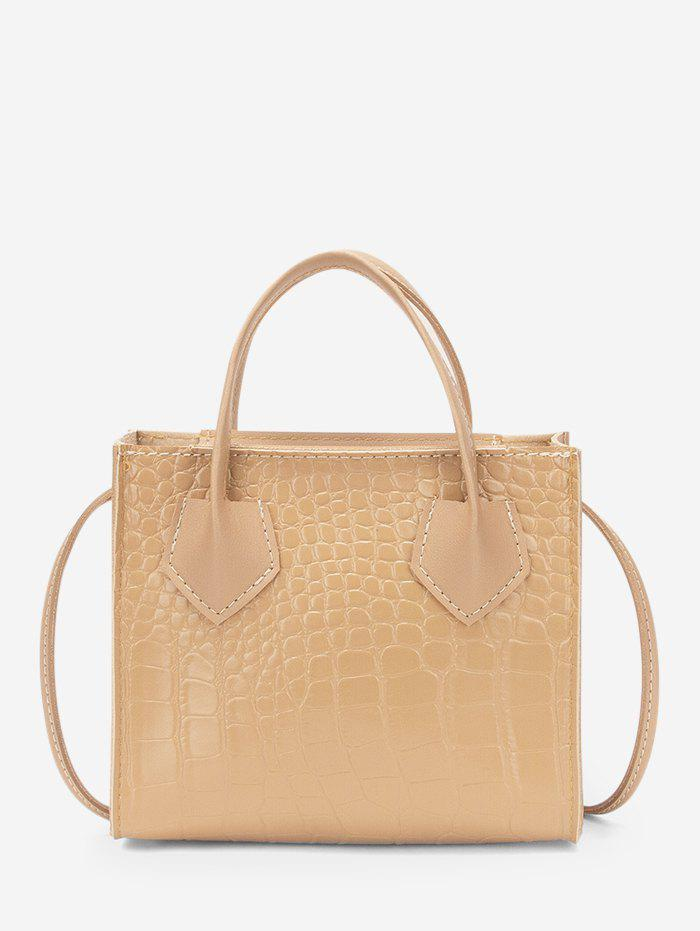 Square Solid Stone Grain Crossbody Bag - BLANCHED ALMOND