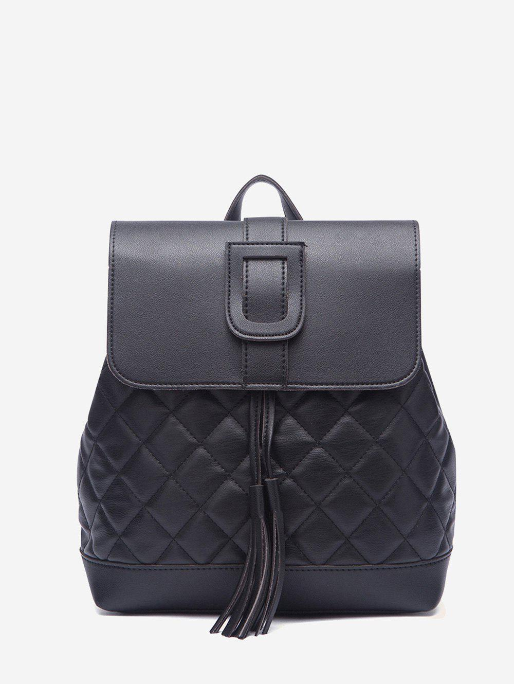 Quilted Cover Drawstring PU Backpack - BLACK