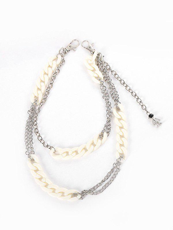 Punk Acrylic Metal Layered Pendant Trousers Chain - SILVER