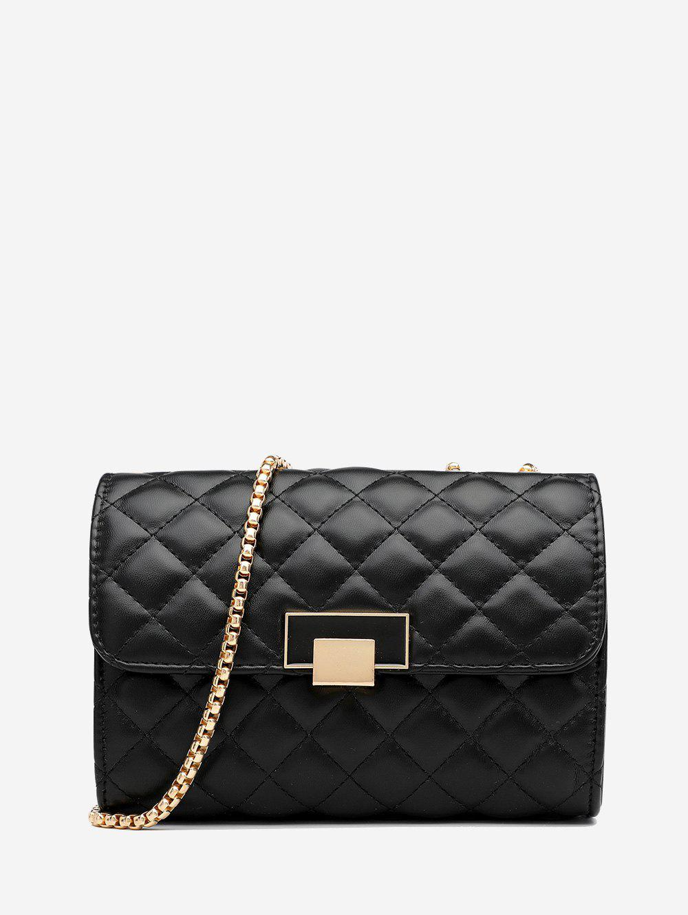Quilted Geometric Pattern Chain Cover Crossbody Bag - BLACK