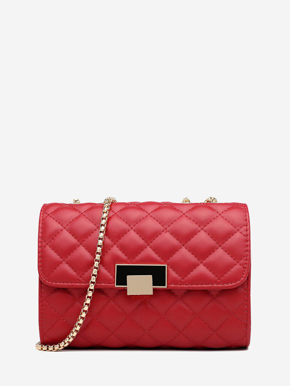 Quilted Geometric Pattern Chain Cover Crossbody Bag - RED WINE