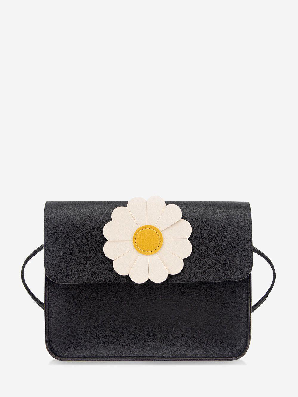 Daisy Flower Pattern Cover Crossbody Bag - BLACK