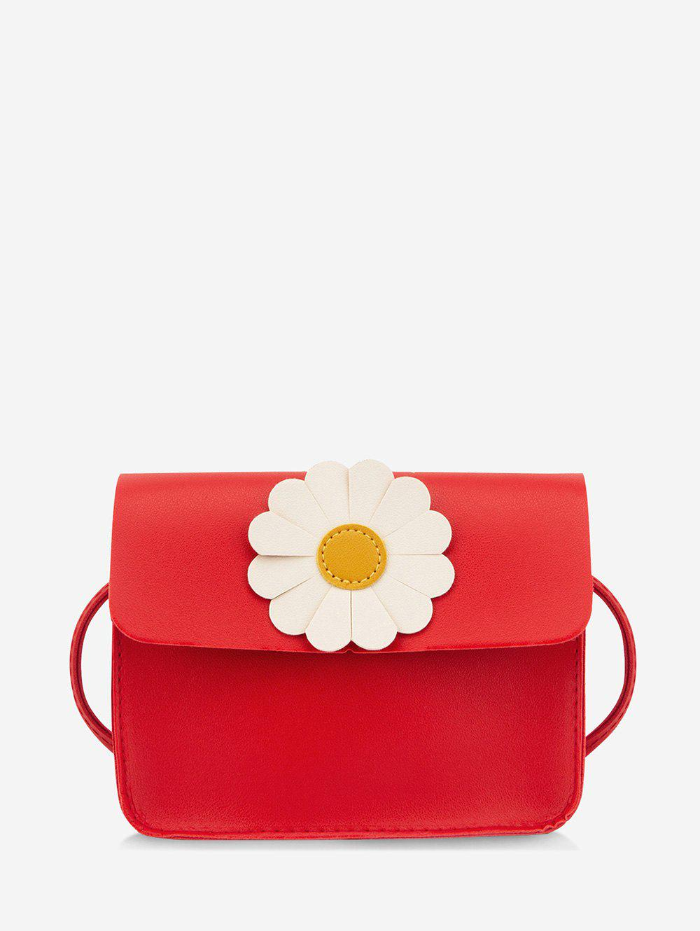 Daisy Flower Pattern Cover Crossbody Bag - RED