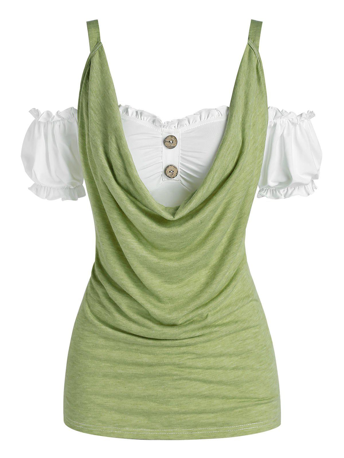 Puff Sleeve Cold Shoulder Cowl Front Tee - LIGHT GREEN M