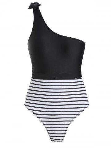 One Shoulder Striped Swimsuit