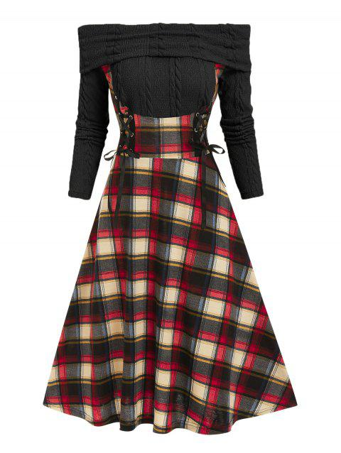 Off The Shoulder Plaid Lace Up 2 in 1 Dress