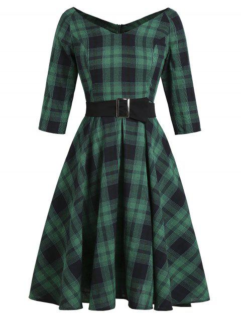 Plaid V Neck Raglan Sleeve Belted Dress