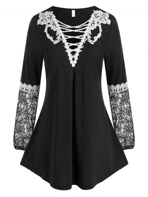 Plus Size Lace Insert Tunic Top