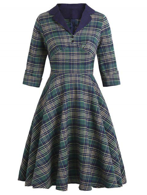 Plaid Cuffed Sleeve Mock Button Lapel Dress