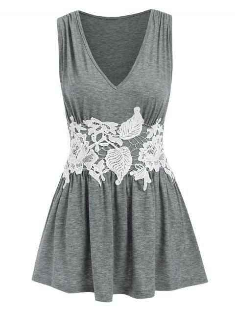 Ruched Lace Panel Peplum Tank Top