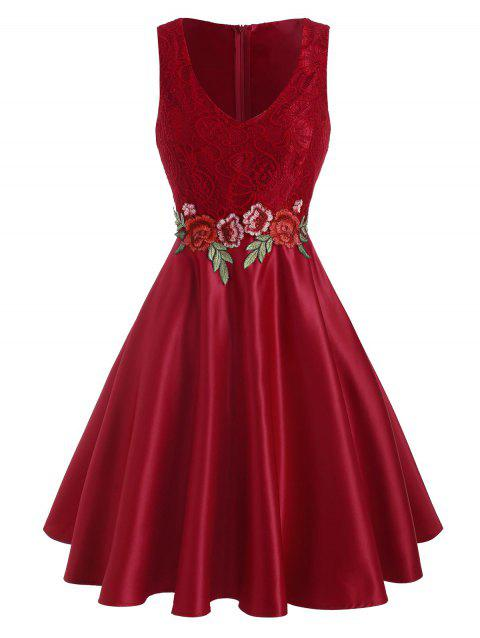 Lace Panel Floral Embroidered Applique Party Dress