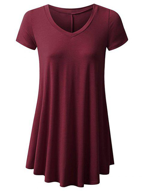 Plus Size Short Sleeve Plain V Neck Tunic Tee