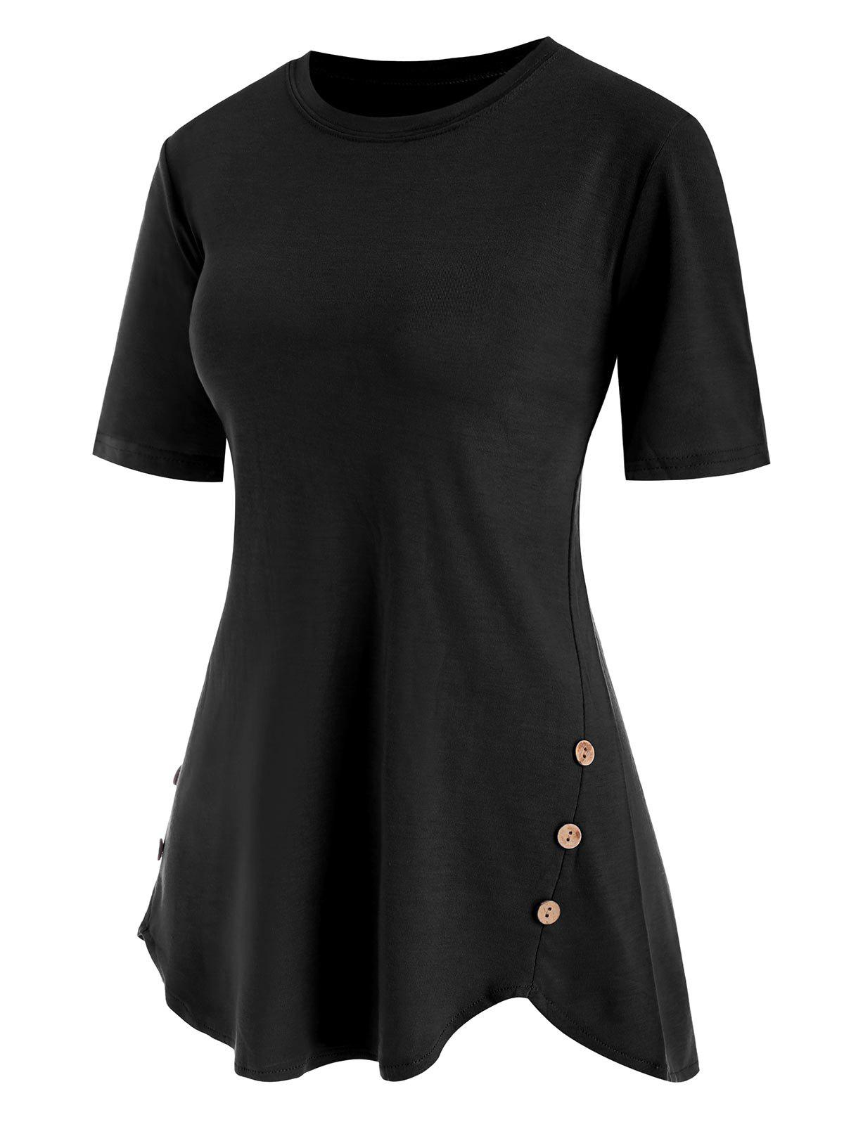 Buttoned Hem Tunic Top - BLACK M