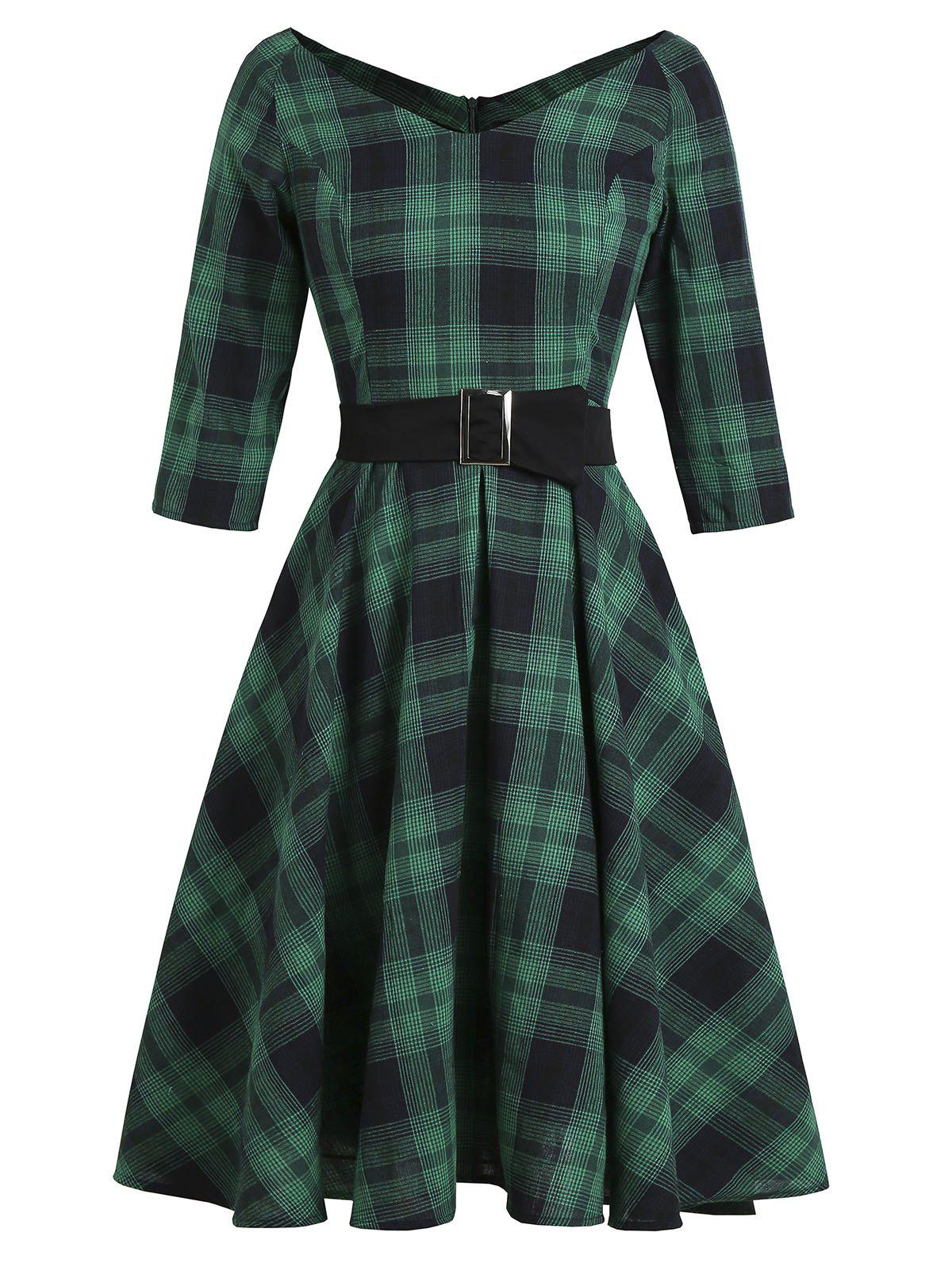 Plaid V Neck Raglan Sleeve Belted Dress - DEEP GREEN 2XL