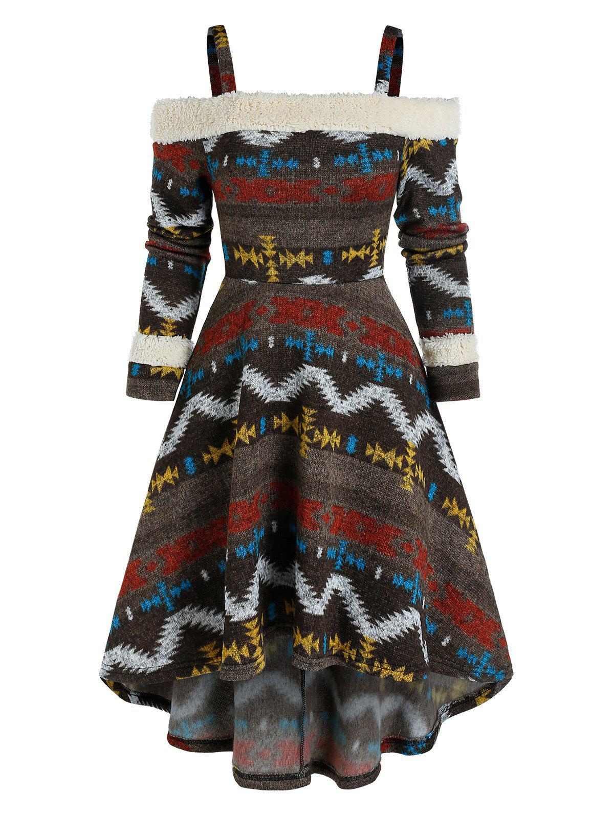 Tribal Print Cold Shoulder High Low Dress - COFFEE XL