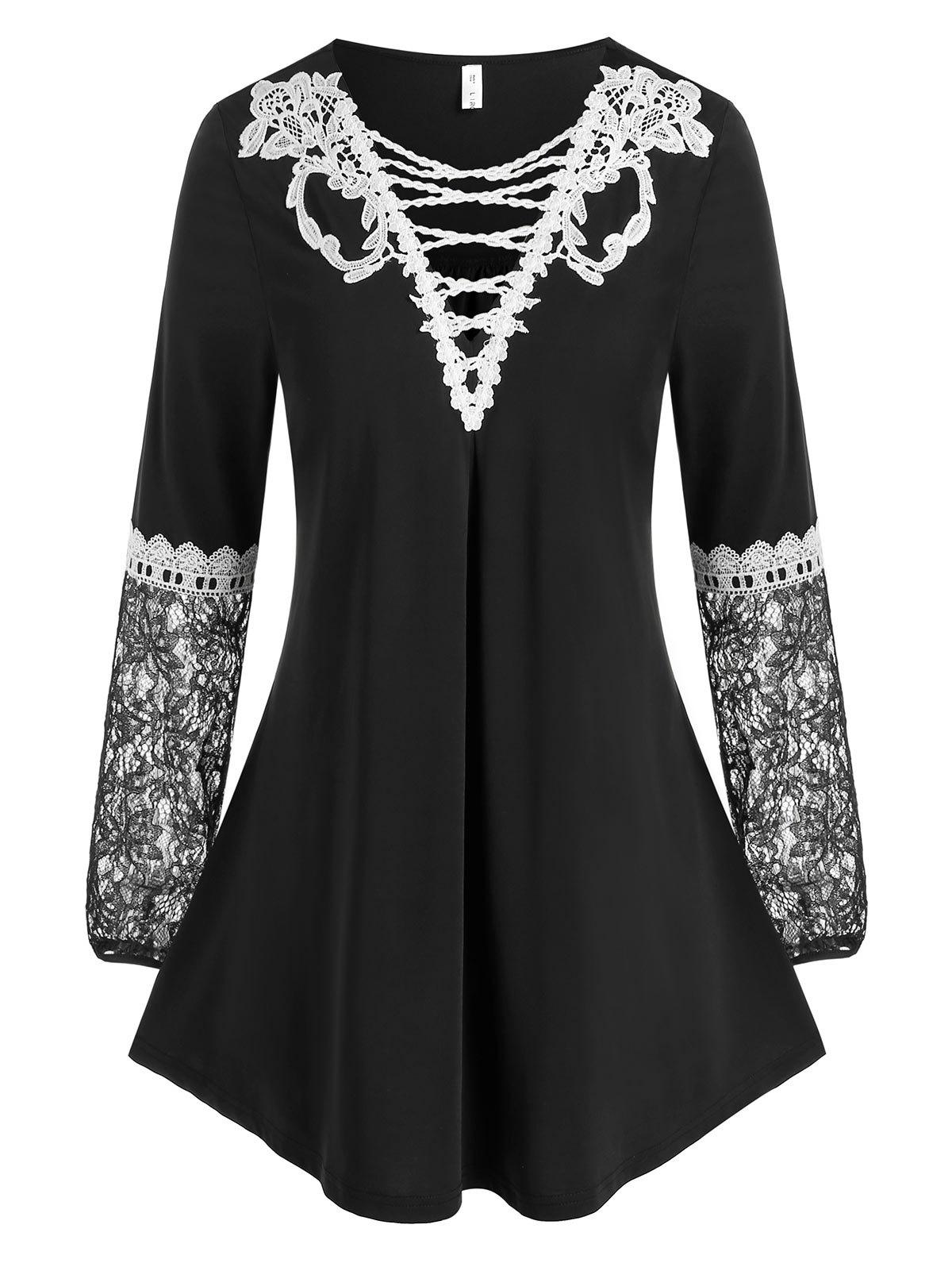 Plus Size Lace Insert Tunic Top - BLACK 1X