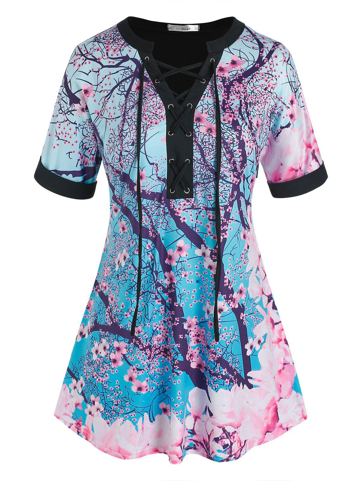 Plus Size Plum Blossom Lace-up Tunic Tee - multicolor 5X