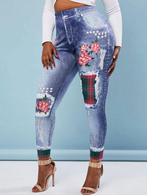 3D Print Floral Plaid Panel High Waisted Plus Size Jeggings