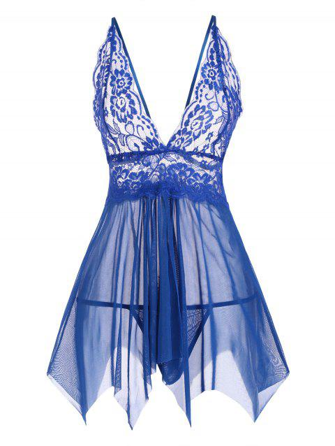 Lace and Mesh Flyaway Handkerchief Hem Babydoll Set