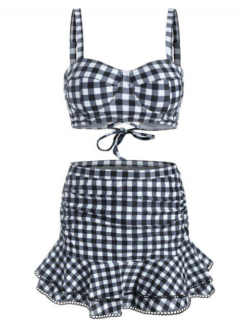 Gingham Underwire Ruched Picot-trim Three Piece Swimsuit