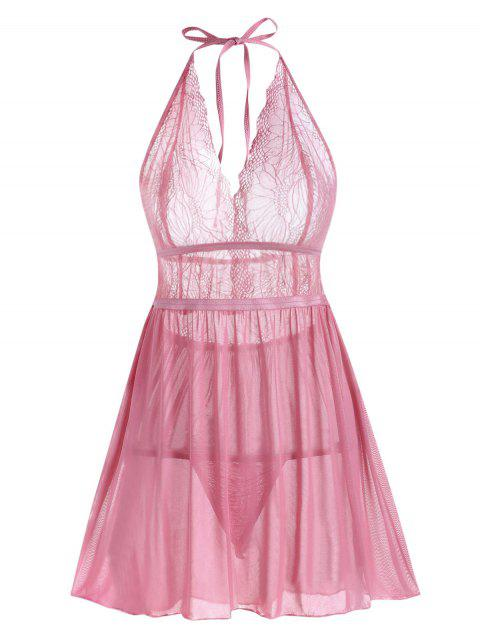 Lace and Mesh Halter Babydoll Set