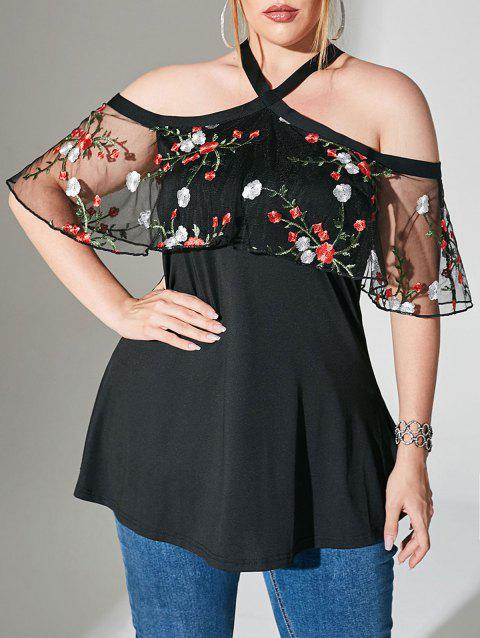 Foldover Mesh Floral Embroidered Open Shoulder Plus Size Top
