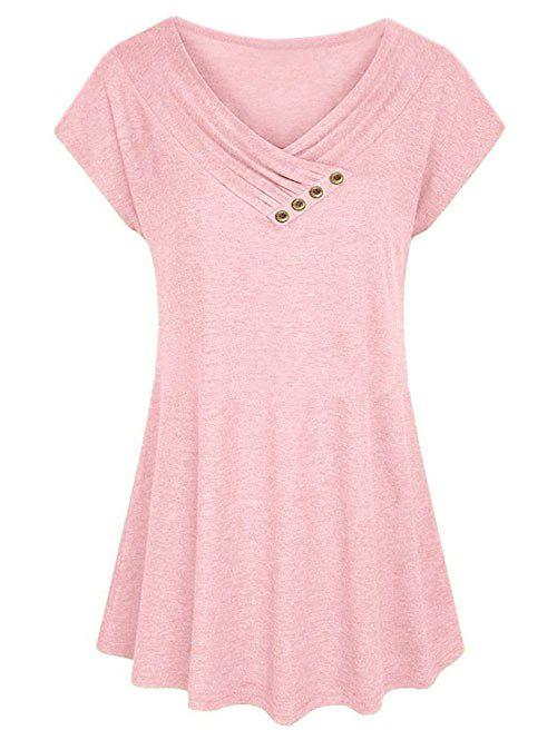 Plus Size Surplice Ruched Short Sleeve T-shirt - LIGHT PINK XL