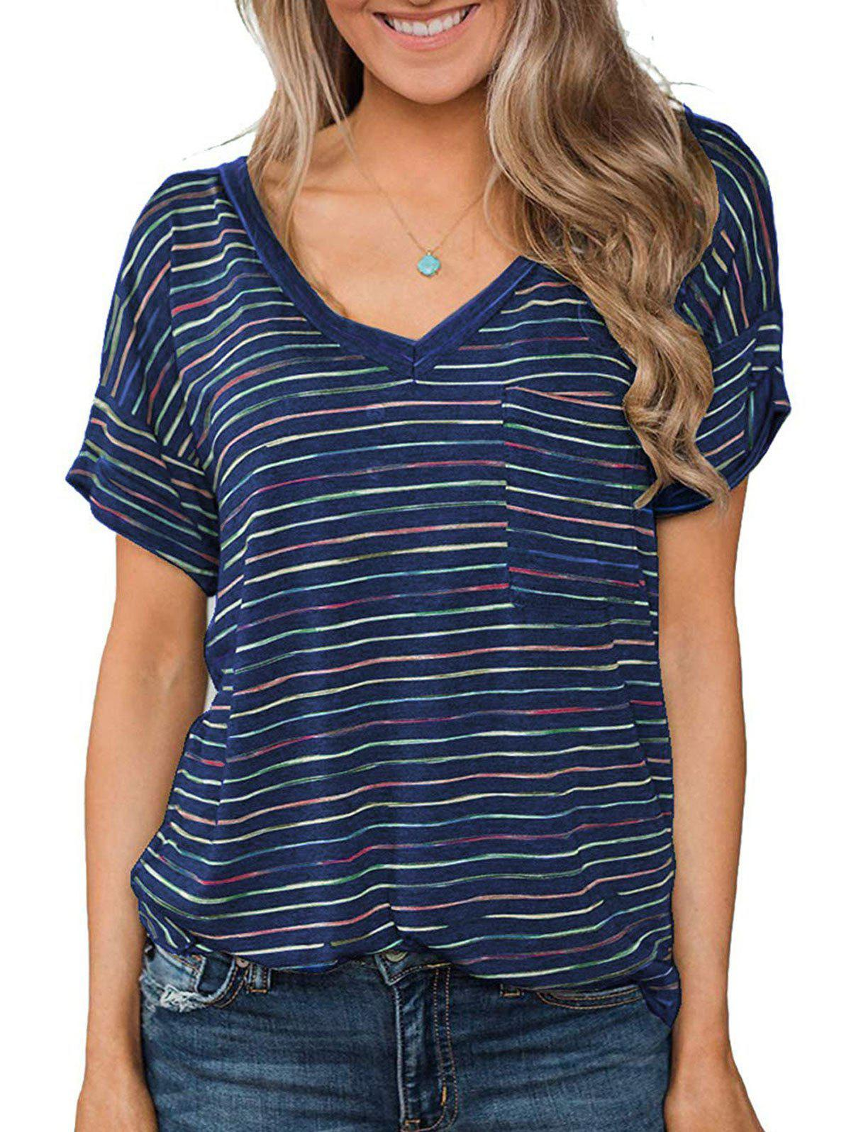 V Neck Striped Front Pocket Longline Tee - DEEP BLUE S