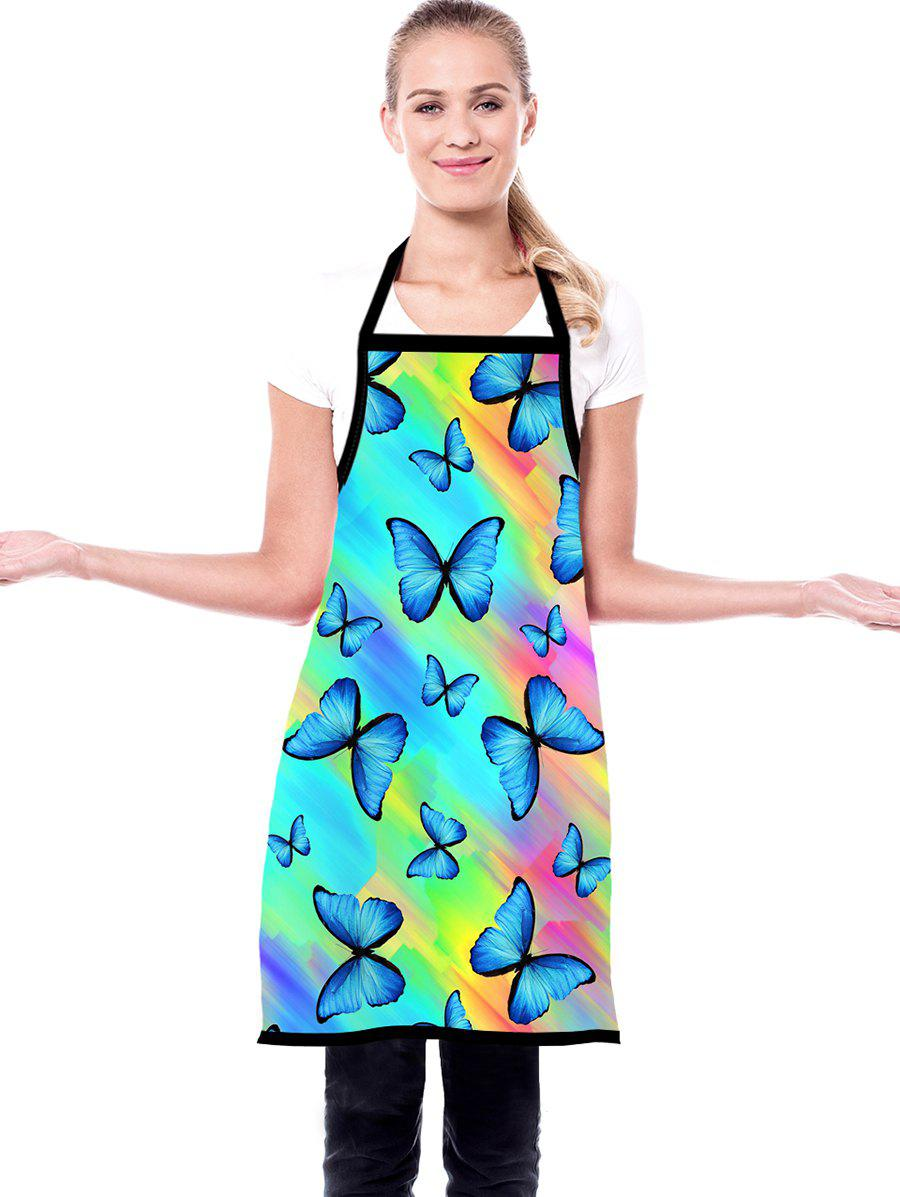 Rainbow Color Butterfly Print Waterproof Kitchen Apron - CRYSTAL BLUE 72*60CM