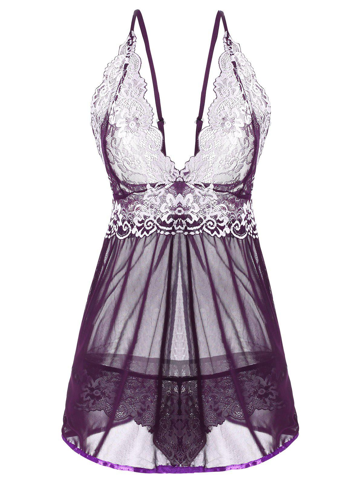 Floral Lace and Mesh Flyaway Babydoll Set - CONCORD XXL