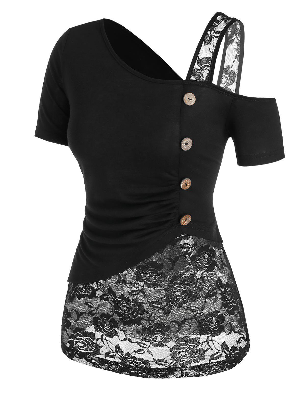 Flower Lace Insert Mock Button Ruched T-shirt - BLACK XXXL