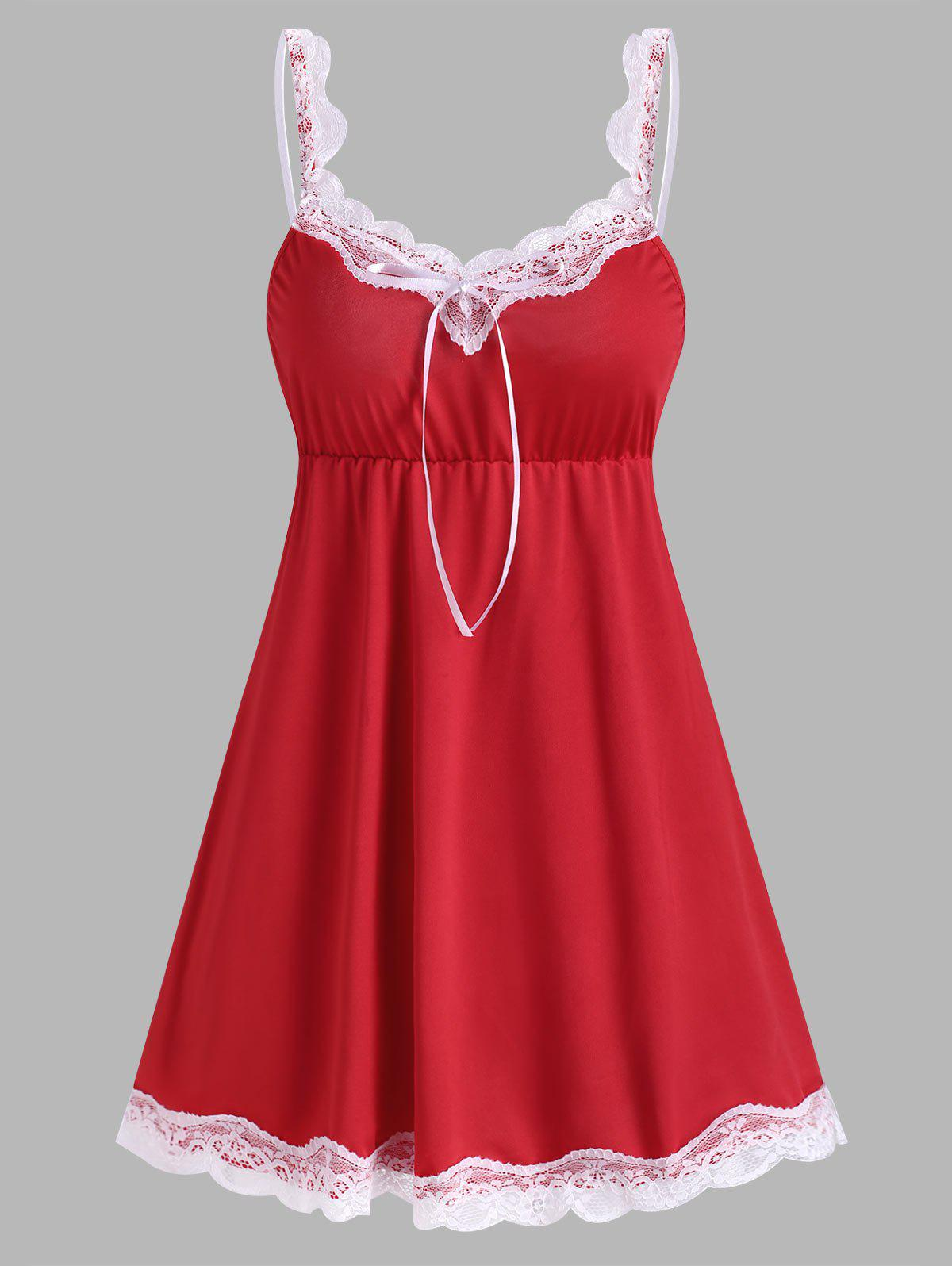 Lace Panel Night Dress - RED S