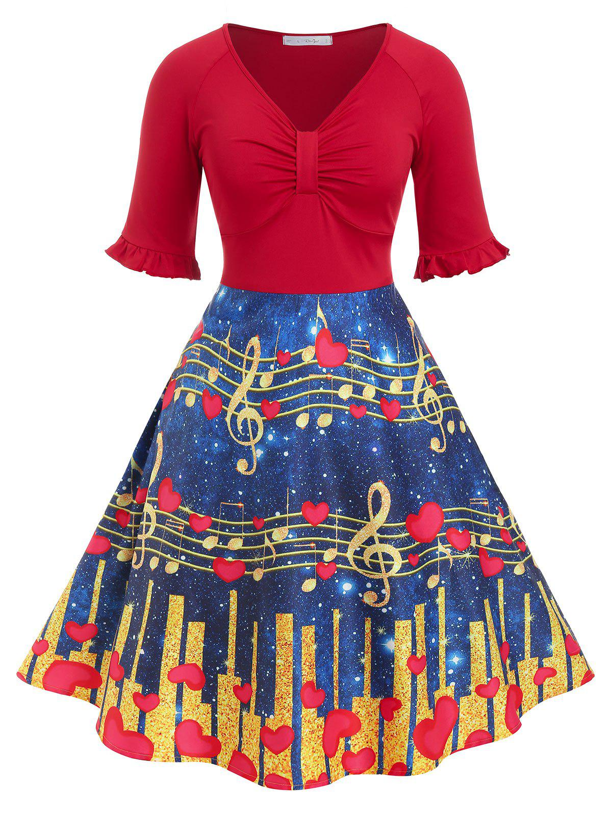 Plus Size Vintage Musical Notes Heart Print Dress - RED 5X