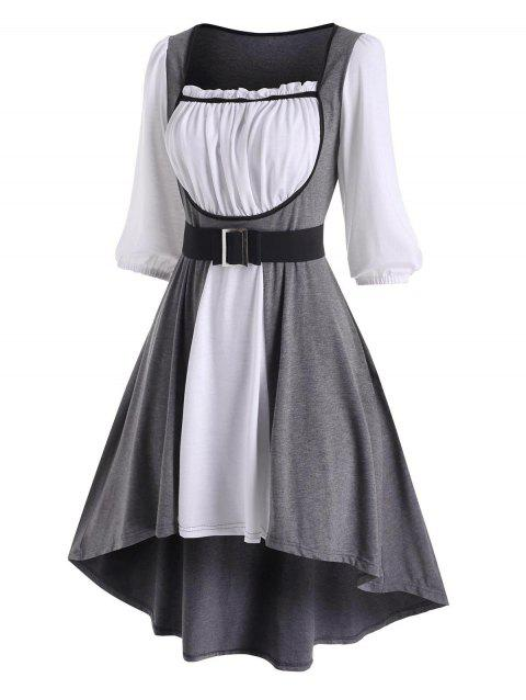 Colorblock Ruffle Belted High Low Dress