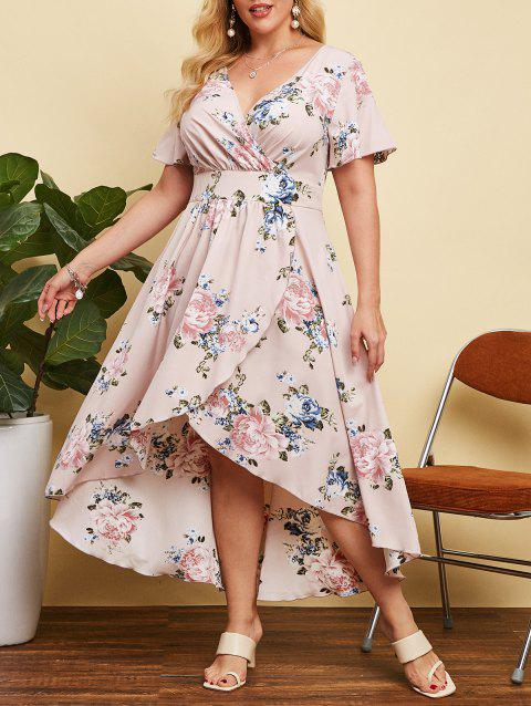 Plus Size Floral Print High Low Long Dress