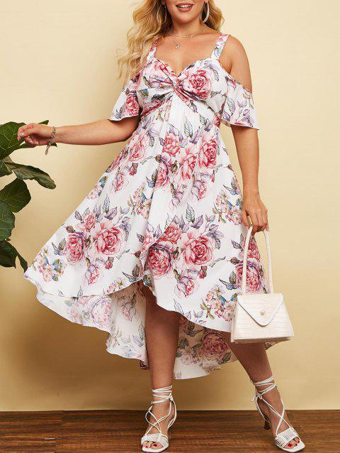Plus Size Cold Shoulder Front Twist Floral Print Maxi Dress