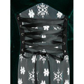 Plus Size Christmas Velvet Snowflake Floral Lace-up Bell Sleeve Dress