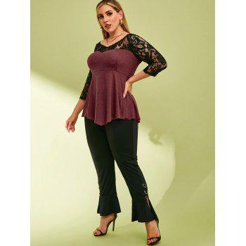 Lace Panel Heathered V Neck Plus Size Top