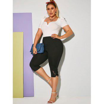 Plus Size Butterfly Applique High Rise Cropped Leggings