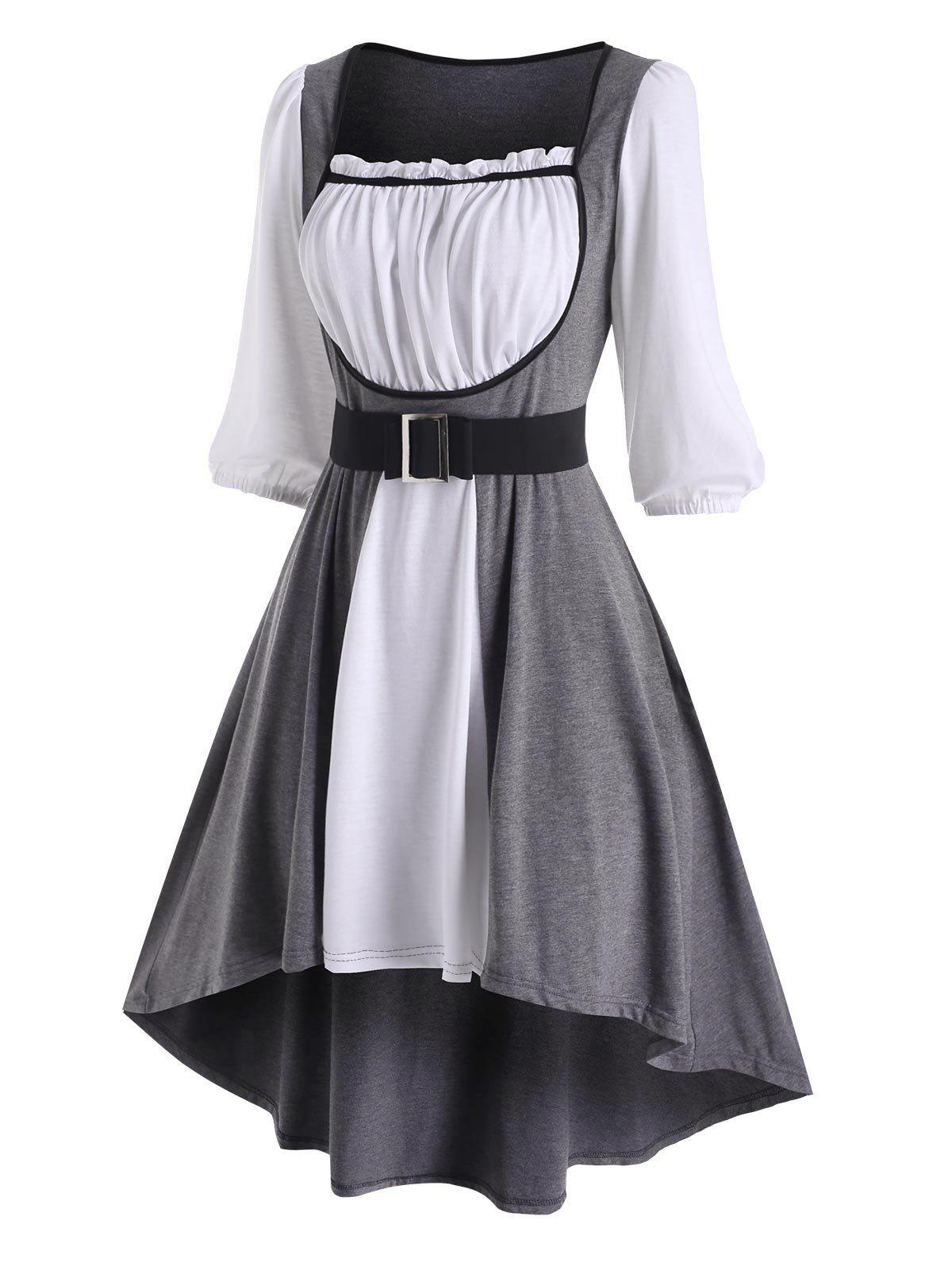 Colorblock Ruffle Belted High Low Dress - GRAY XL