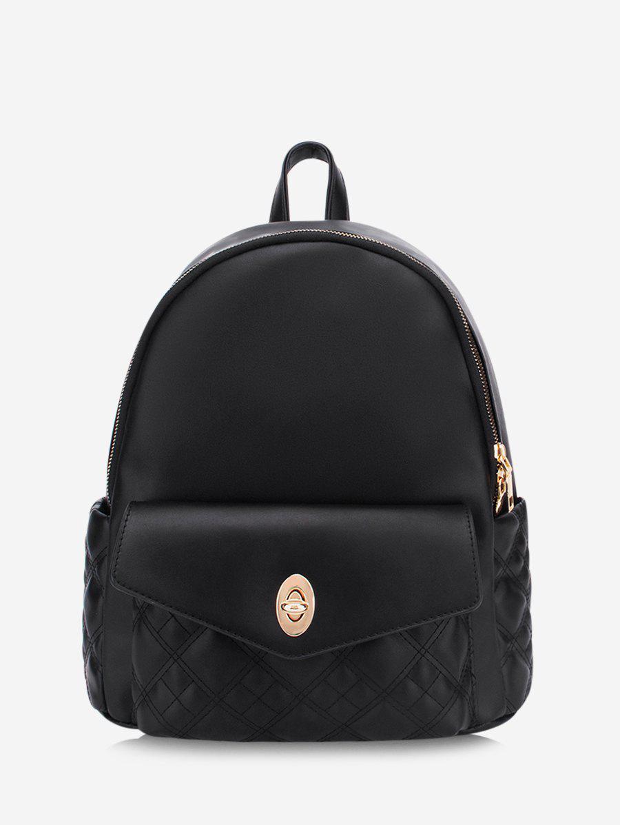 Solid Quilted Buckle Straps Backpack - BLACK