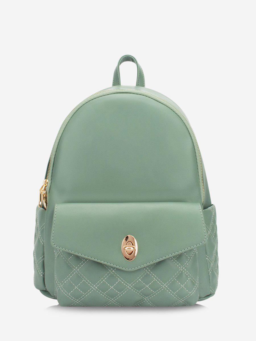 Solid Quilted Buckle Straps Backpack - DARK SEA GREEN