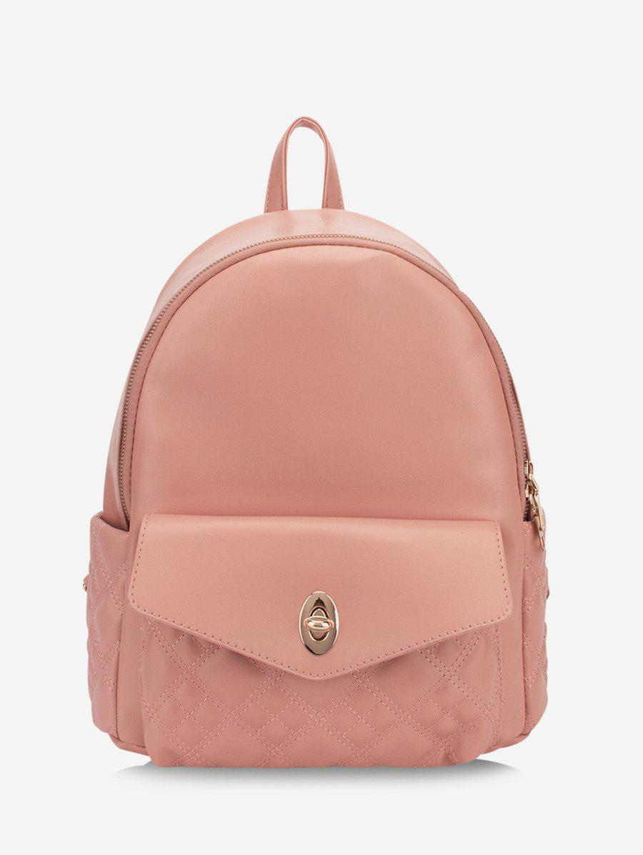 Solid Quilted Buckle Straps Backpack - PINK