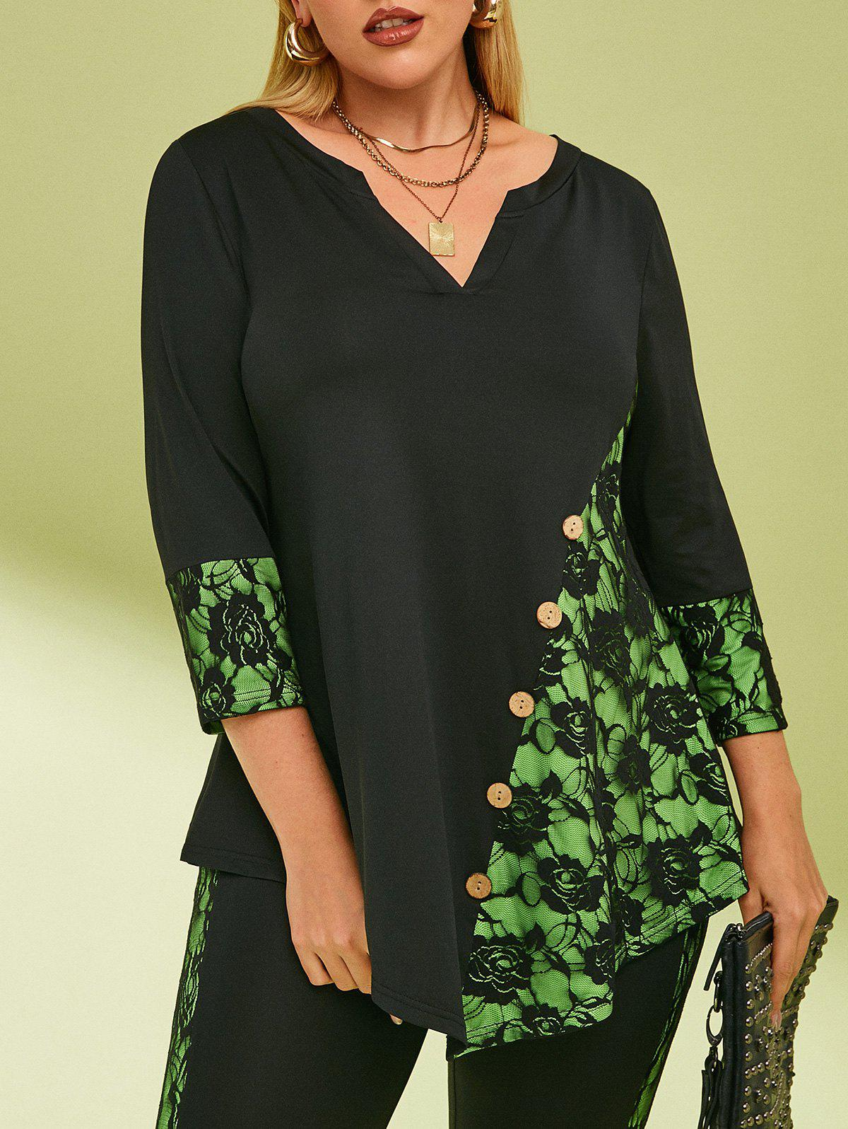 Lace Panel Buttoned Notched Collar Plus Size Top - BLACK 5X