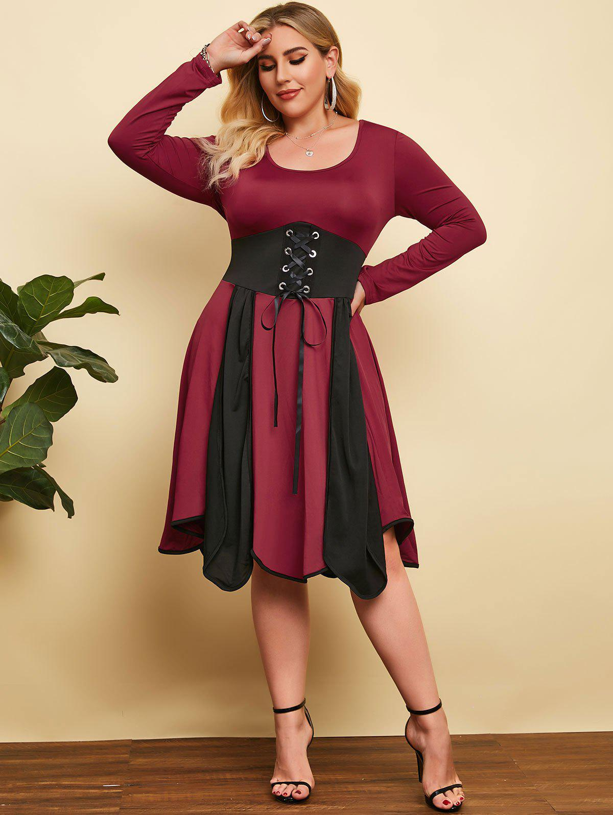 Plus Size Colorblock Lace Up Waist Dress - BLACK 4X