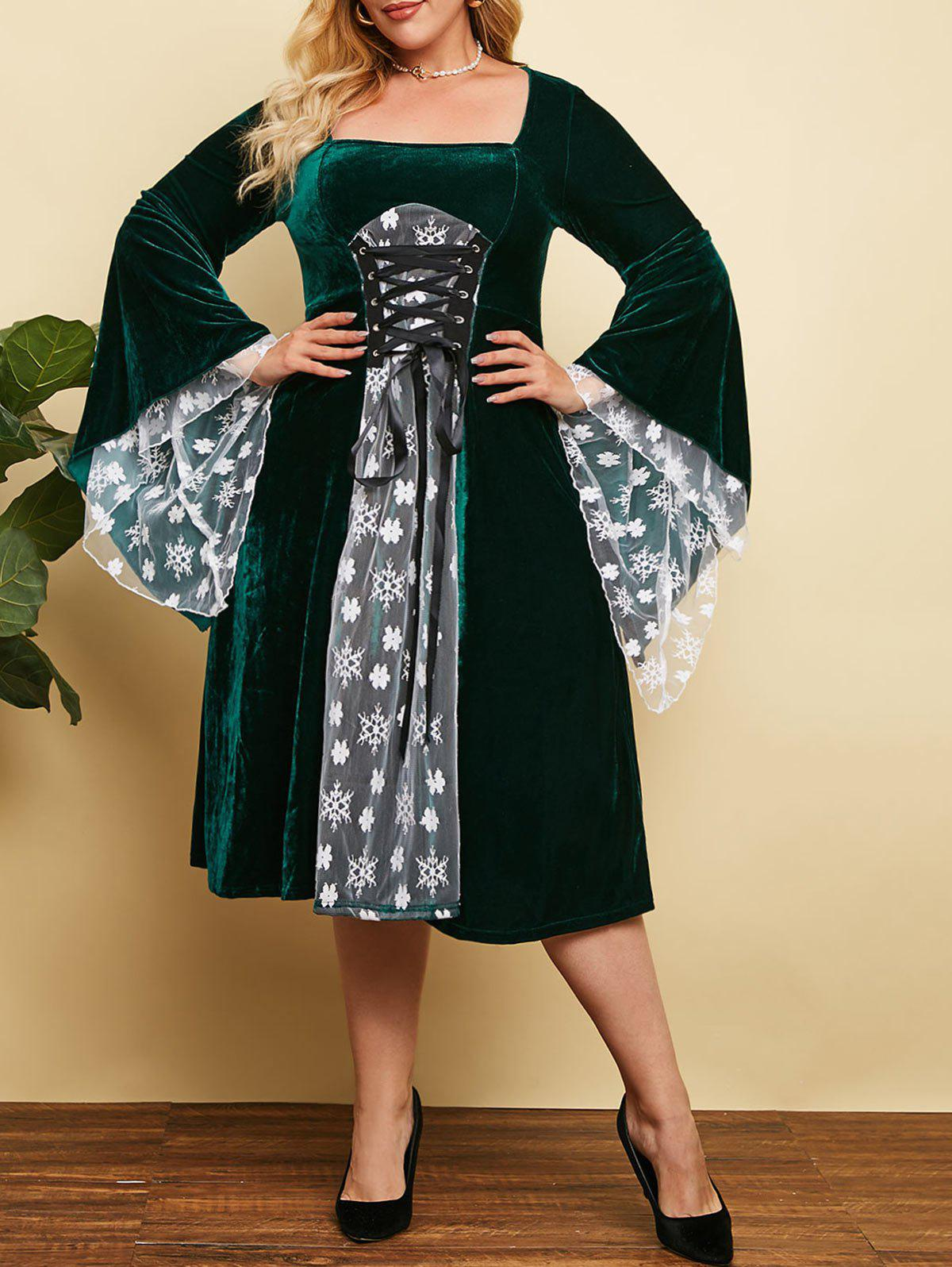Plus Size Christmas Velvet Snowflake Floral Lace-up Bell Sleeve Dress - DEEP GREEN 4X