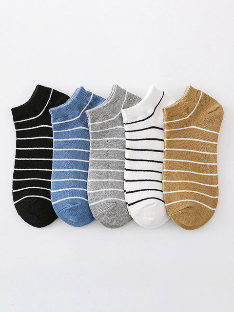 5 Pairs Preppy Style Stripes Pattern Ankle Socks Set