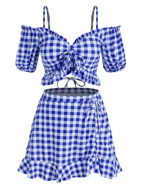Plus Size Cold Shoulder Bowknot Gingham Three Piece Swimwear
