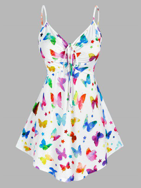 Plus Size Cinched Butterfly Print Tank Top